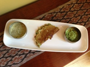 (L) Batter, Finished Pesarttu, (R) Coconut-cilantro-sweet onion chutney