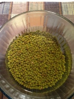 Step 1: Soak whole green Mung beans in hot water (warm to hot is adequate) for 6 to 8 hours.