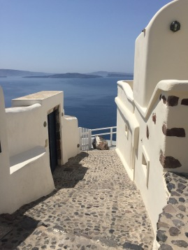 It is mesmerizing to see steps that seem to descend into ocean - Santorini, GR