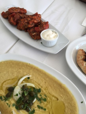 Fava Bean Hummus, Tomato fritters with fresh Pita