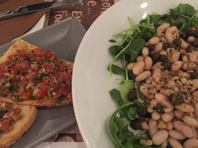 Tomato Pesto Bruschetta, Navy bean with capers on Arugula