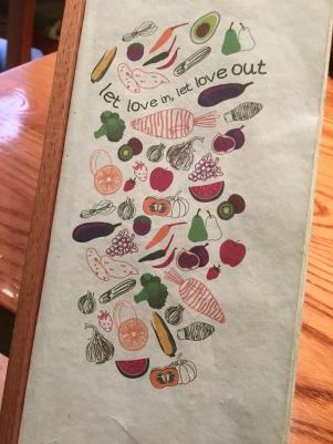 Menu cover at Avocado Restaurant, Athens, GR